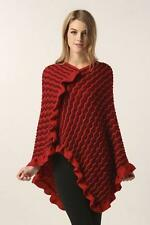 STELLA MORGAN PLUS SIZE CHEVRON RUFFLE PONCHO CARDIGAN RED ONESIZE 18 20 22 24