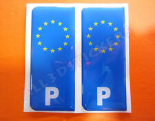 2x3D Sticker Resin Domed Euro PORTUGAL Number Plate Car Badge Adhesive