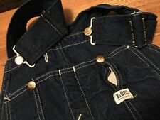 Vintage LEE JELT Sanforized Union Made All Cotton Denim Bibs Overalls. W.32 Rare