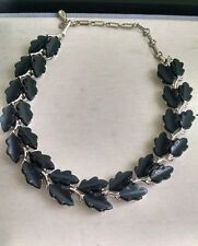 Vintage Lisner Thermoset Gray Moonglow Leaf Choker Necklace