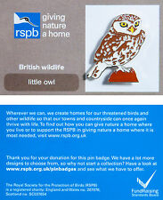 RSPB Pin Badge | Little Owl | GNaH backing card [00342]