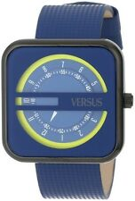 Versus by Versace Women's SGH030013 Kyoto Square Blue Genuine Leather Wristwatch