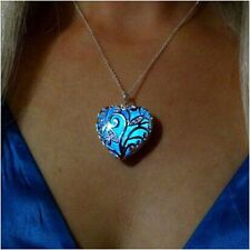 Magical Aqua Blue Love Heart Tree of Life Glow in the Dark Pendant Necklace Chic