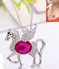 9k Gold Filled White Clear Rhinestone Horse Pegasus Pink Pendant Necklace Chain
