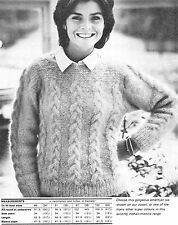 "#248 LADIES MOHAIR CABLE PANEL SWEATER 34-40"" VINTAGE KNITTING PATTERN"
