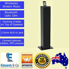 Bluetooth Tower Speaker Home Sub System Black Wood Docking AUX iPod iPad iPhone