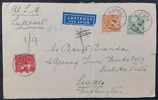 Sweden-1949 Multi Stamp Airmail Cover Bofors  PMK To Seattle, USA