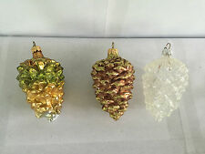 LOT 3 BLOWN GLASS GLITTERY PINECONE CHRISTMAS ORNAMENTS PINE CONE