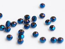 10x facettierte Kristallperlen blau 6mm rund bead crystal Glas