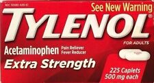 TYLENOL EXTRA STRENGTH 225 TABLETS  500 mg ACETAMINOPHEN PAIN RELIEVER EX 09/17+