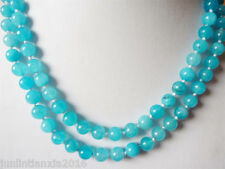 """Natural 8mm South African Blue Topaz Gems Round Beads Necklace 36"""""""