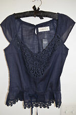 Abercrombie & Fitch A&F NWT Brussels Lace Top Blue L Large 100% Cotton Easy Fit