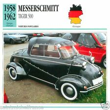MESSERSCHMITT TIGER 500 1958 1962 CAR VOITURE GERMANY DEUTSCHLAND CARD FICHE