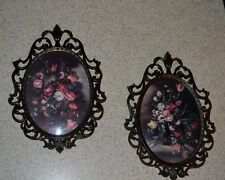 """Vintage Pair Flower Floral Convex Glass Pictures Scrolled BRASS? Frame ITALY 10"""""""