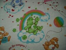 VINTAGE 1980's CARE BEARS AMERICAN GREETINGS RAINBOW TWIN FLAT SHEET FABRIC BED