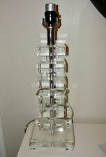 MID CENTURY MODERN*HOLLYWOOD REGENCY CUT GLASS CRYSTAL STACKED TABLE LAMP