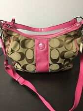 Coach Signature Stripe Convertible Hobo Crossbody Shoulder Bag 21873 Pink (Used)