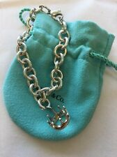 AuthenticTiffany & Co Silver Queen Crown Charm & Charm Bracelet w/ Box & Pouch
