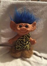 VINTAGE UNEEDA CAVEMAN TROLL WITH BLUE HAIR AND FUR BOOTS