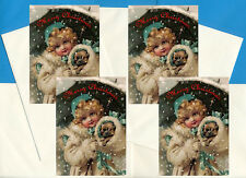 PUG AND GIRL IN SNOW PACK OF 4 CARDS DOG PRINT GREETING CHRISTMAS CARDS