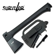 NEW! Survivor Black Tactical Survival Camp Hatchet Axe w/ Sheath, Fire Starter