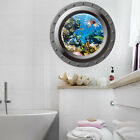 3D Fish Ocean Window View Removable Wall Sticker Decal Home Bathroom Decor Mural