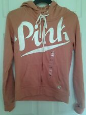 BNWT Victoria's Secret Pink orange Medium Hoodie full Zip top Jacket M UK 10