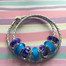 New PANDORA Moments Double Leather Bracelet Light Blue Small Meduim or Large