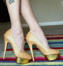 "CHARLOTTE OLYMPIA ""DOLLY"" TAN WHICKER STILETTO HEEL GOLD PLATFORM PUMPS, 40"