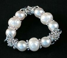 Silver Faux White Pearl Beads Stretch Bracelet VICTORIA LELAND DESIGNS