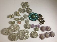 Vintage Rhinestone Button Lot 34 Lucite Pot Metal Brass 40's 50's