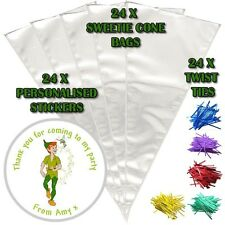 24 Personalised Peter Pan Birthday Do It Yourself DIY Sweet Cone Party Bags
