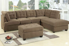 Sectional Sofa Couch Truffle 3-Seat Sofa L/R Chaise w Ottoman Tufted Seat