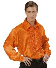 "Orange Satin 70's 80's Ruffle Disco Shirt Fancy Dress Costume XL 48"" Chest"
