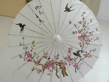 JAPANESE HANDMADE WHITE PAPER PARASOL CHINESE PINK CHERRY BLOSSOM BIRD PARTY b2