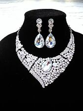 Stunning Necklace Earrings Jewelry Set Clear Crystal Prom Pageant Wedding Bride