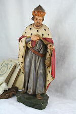 French XL antique saint statue religious 1900 Plaster polychrome