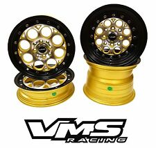 VMS RACING REVOLVER GOLD BLACK FRONT & REAR DRAG WHEELS SET 4X100/4X114 13x8