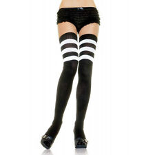 Women Black White Stripe Thigh High Athletic Socks Referee Halloween Costume