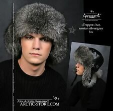 NEW MEN'S TRAPPER FUR HAT silver GREY FOX Ushanka SHAPKA chapeau fourrure homme