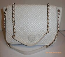 "TORY BURCH "" marion"" diamond quilted lambskin leather shoulder , ivory bag, $495"
