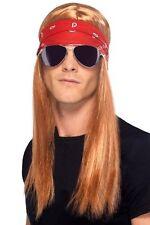 Guns N Roses W. Axl Rose Costume 80s Rocker Rockstar Wig Bandana & Sunglasses