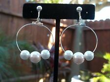 Gorgeous Silvertone Hoop with Pink & Off White Beads Dangling Clip On Earrings