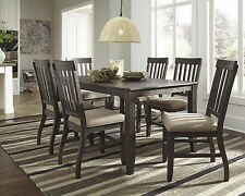 Ashley 7 Pc Dresbar Greyish Brown Finish Dining Table Side Chairs Set