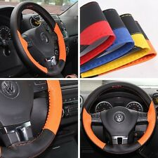 "14"" Steering Wheel Cover Black & Orange PVC Leather Wrap 47018S Coupe Small"