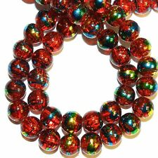 G1496L Red 8mm Round Metallic Drawbench Swirl Crackle Glass Beads 32""