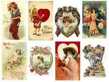 Valentine Stickers Vintage Postcard Reproductions Cupids Hearts Victorian 16