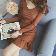 Korean Women V-neck Long Sleeve Bodycon Knitted Sweater Pullover Slim Mini Dress
