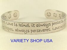 'Love' Silver Pure Copper Wide Religious Magnetic Therapy Cuff Bracelet