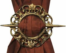 SET OF 2 DECORATIVE CURTAIN HOLDBACKS WINDOW CURTAIN TIEBACKS, ANTIQUE, BRONZE